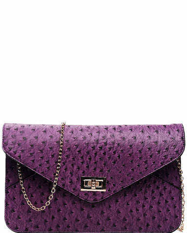 OSTRICH PURPLE ENVELOPE CLUTCH BAG - Jezzelle