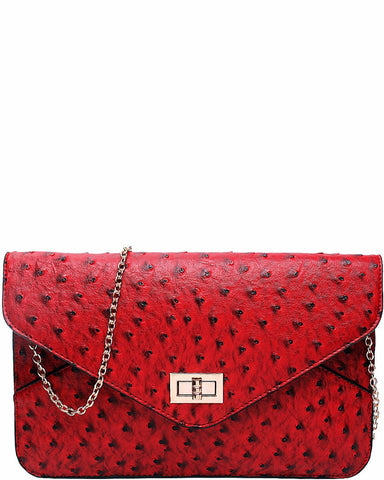 OSTRICH RED ENVELOPE CLUTCH BAG