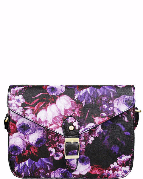 SMALL CROSS BODY PURPLE FLORAL PRINT SATCHEL - Jezzelle