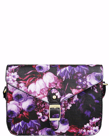 SMALL CROSS BODY PURPLE FLORAL PRINT SATCHEL-Jezzelle