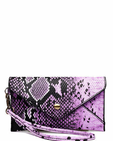 PURPLE SNAKESKIN MINI ENVELOPE CLUTCH BAG-Jezzelle