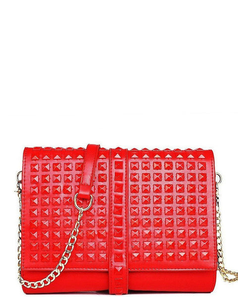 LARGE STUDDED RED ROLL UP CLUTCH BAG - Jezzelle