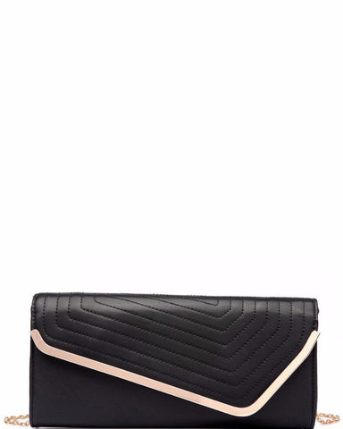 FAUX LEATHER BLACK QUILTED ENVELOPE CLUTCH HANDBAG