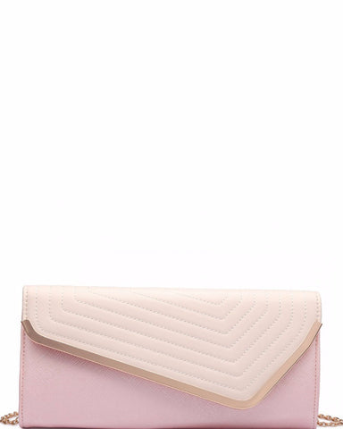 FAUX LEATHER PINK QUILTED ENVELOPE CLUTCH HANDBAG