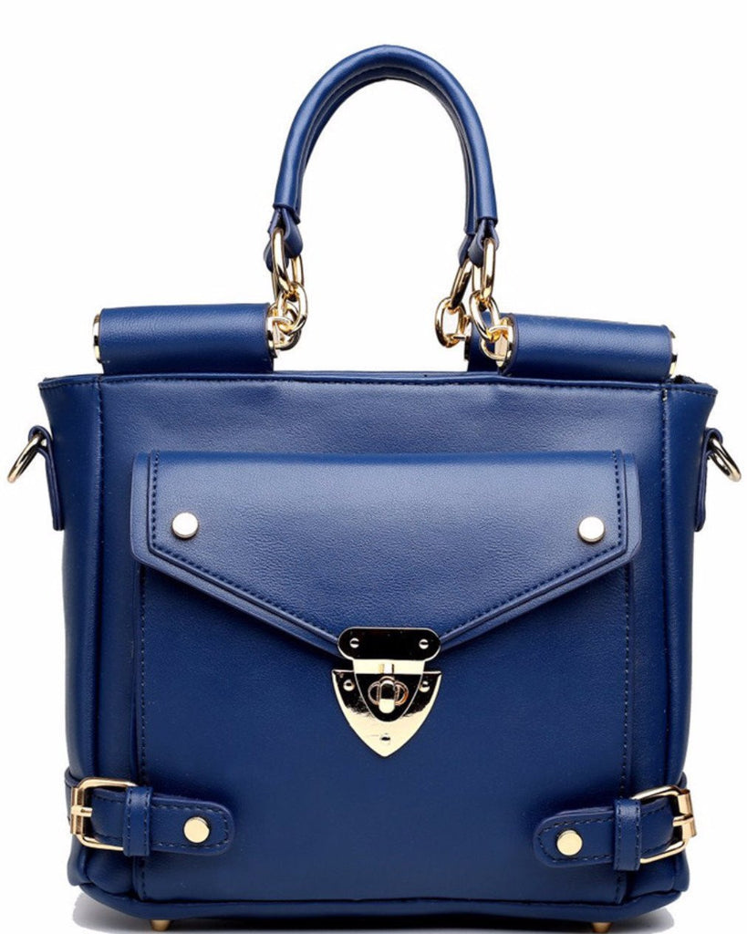 SQUARE FRONT POCKET LARGE NAVY SHOULDER BAG-Jezzelle