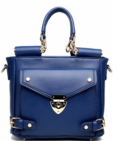 FRONT POCKET BLUE SHOULDER BAG-Jezzelle
