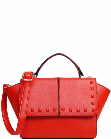 LEATHER LOOK RED STRUCTURED STUDDED HANDBAG - jezzelle  - 1