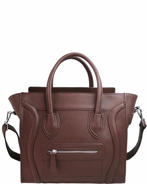 STRUCTURED BROWN HANDBAG-Jezzelle