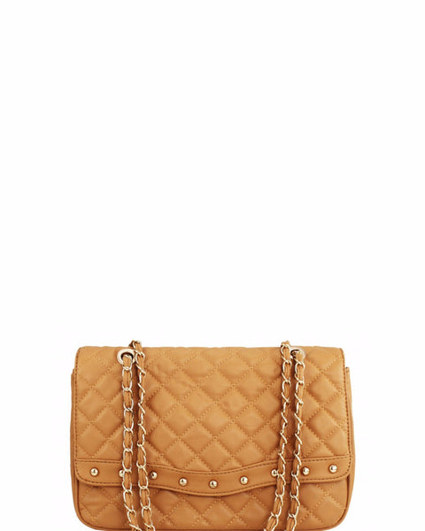 CAMEL QUILTED SHOULDER BAG - Jezzelle