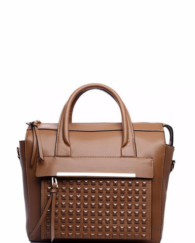 BROWN STUDDED POCKET SHOULDER BAG