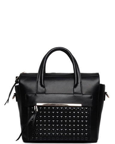 BLACK STUDDED POCKET SHOULDER BAG