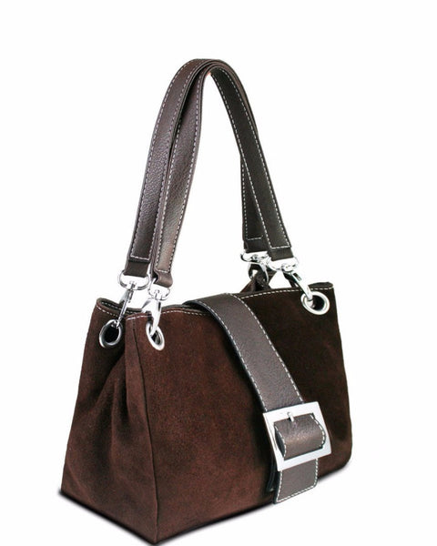 BROWN SUEDE DOUBLE STRAP HANDBAG - Jezzelle