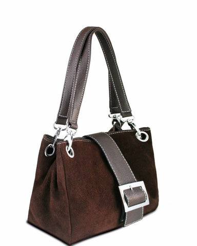 BROWN SUEDE DOUBLE STRAP HANDBAG-Jezzelle