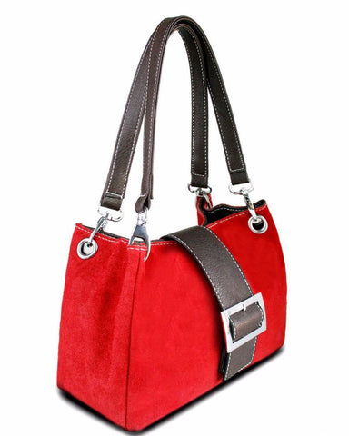 RED SUEDE DOUBLE STRAP HANDBAG-Jezzelle