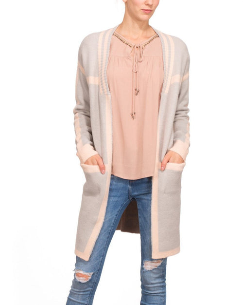 Light Grey Pink Long Line Cardigan-Jezzelle