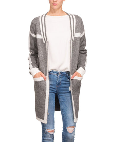 Grey White Long Line Cardigan - Jezzelle