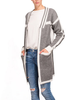 Grey White Long Line Cardigan-Jezzelle