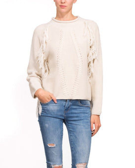 Fringed Cream Wool Pullover-Jezzelle