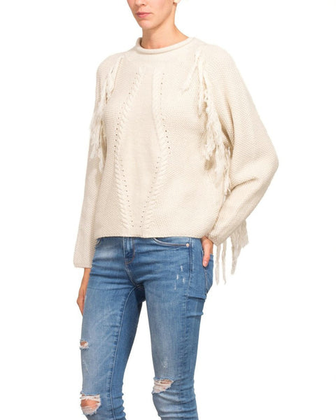 Fringed Cream Wool Pullover - Jezzelle
