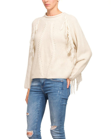 Fringed Cream Wool Pullover