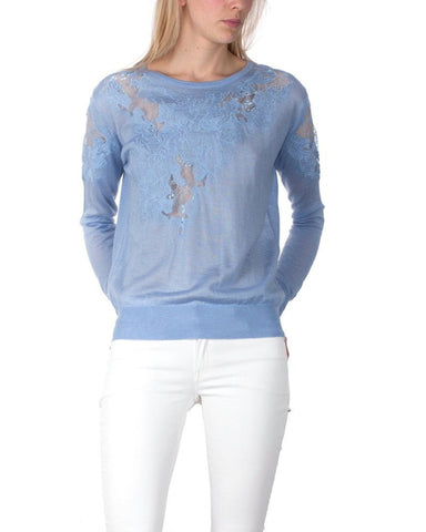 Lace Details Thin & Light Blue Pullover