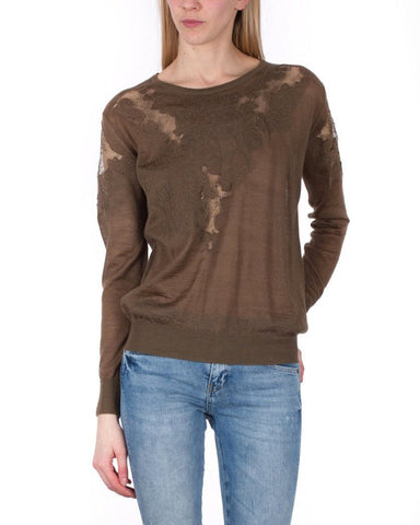 Lace Details Thin & Light Khaki Pullover
