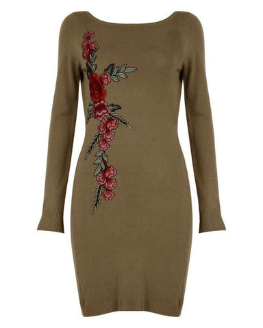 Beige Embroidered Knitted Dress-Jezzelle
