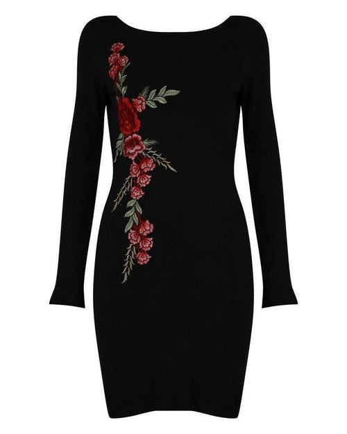 Black Embroidered Knitted Dress-Jezzelle