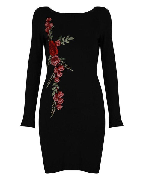 Black Embroidered Knitted Dress - Jezzelle