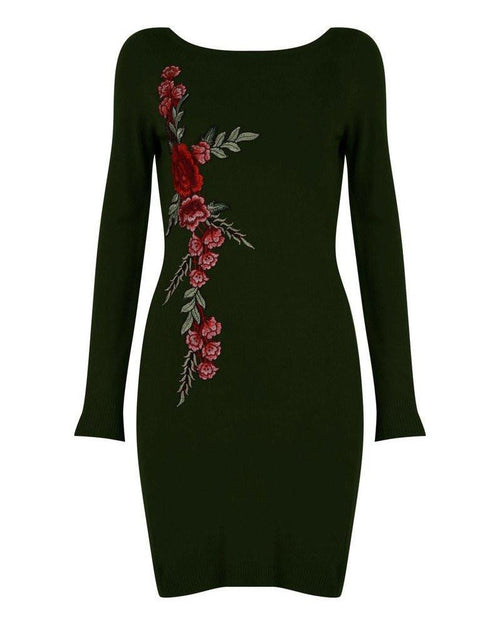 Khaki Embroidered Knitted Dress-Jezzelle