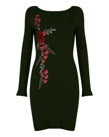 Khaki Embroidered Knitted Dress - Jezzelle