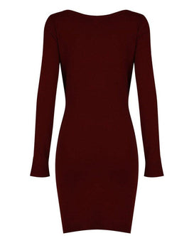 Burgundy Embroidered Knitted Dress - Jezzelle