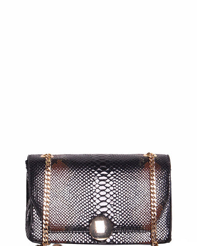 Brown Snake Skin Print Shoulder Bag - Jezzelle
