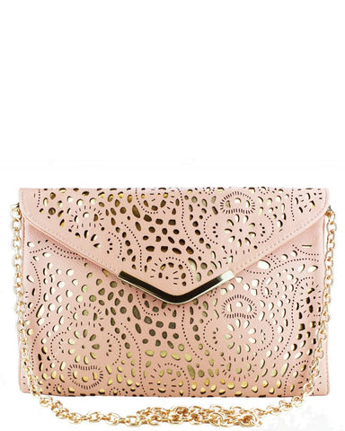 Laser Cut Envelope Nude Clutch Bag - Jezzelle