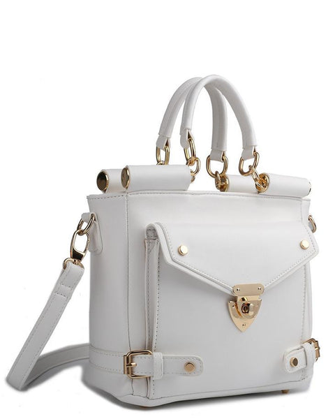 Front Pocket White Shoulder Bag-Jezzelle