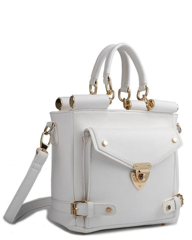 Front Pocket White Shoulder Bag - Jezzelle