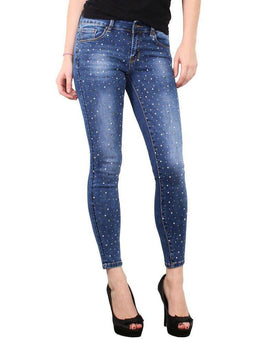Jewels & Pearls Encrusted Skinny Jeans-Jezzelle