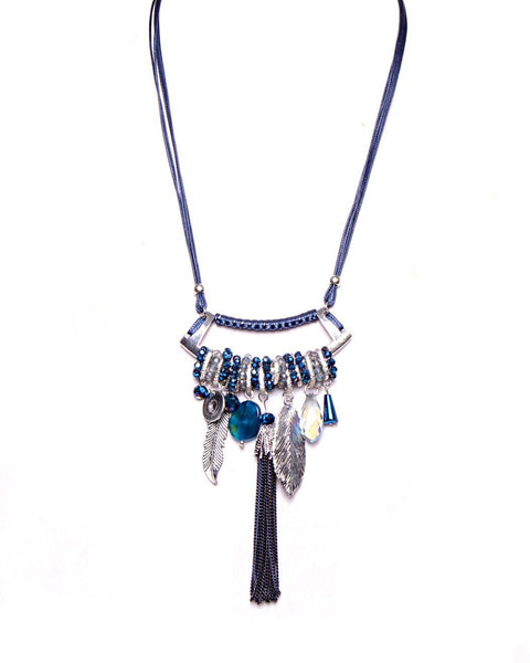 Multi-Pendants Long Blue Necklace-Jezzelle