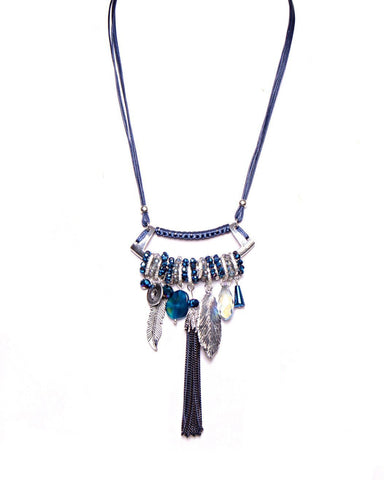 Multi-Pendants Long Blue Necklace