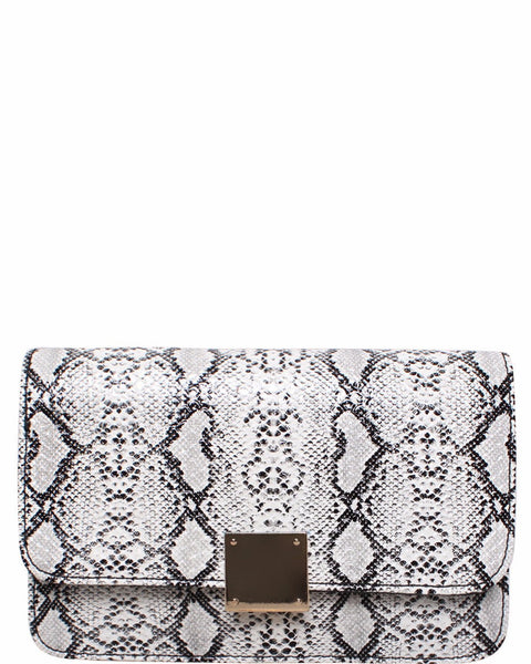 White Python Print Shoulder Bag - Jezzelle