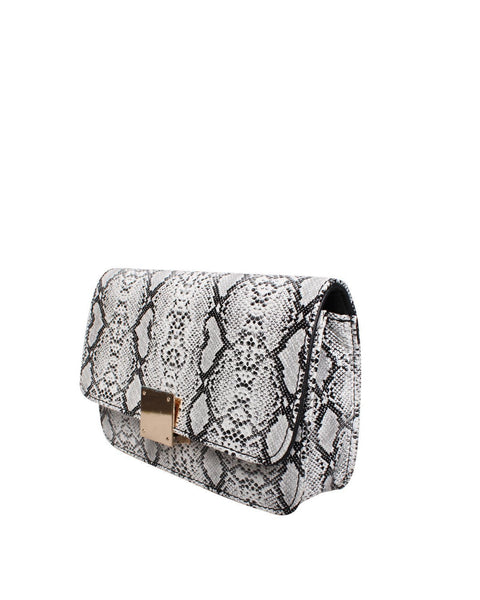 White Python Print Shoulder Bag-Jezzelle