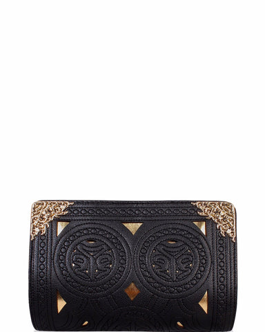 Black & Gold Baroque Clutch