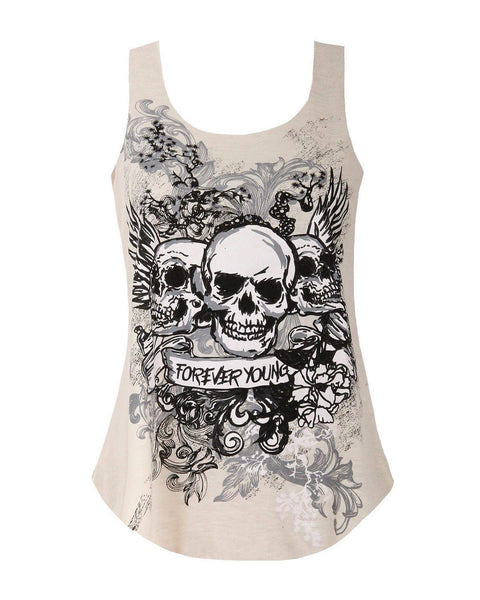 Skull Print Muscle Back Cream Top - Jezzelle