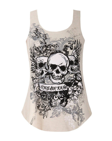 Skull Print Muscle Back Cream Top