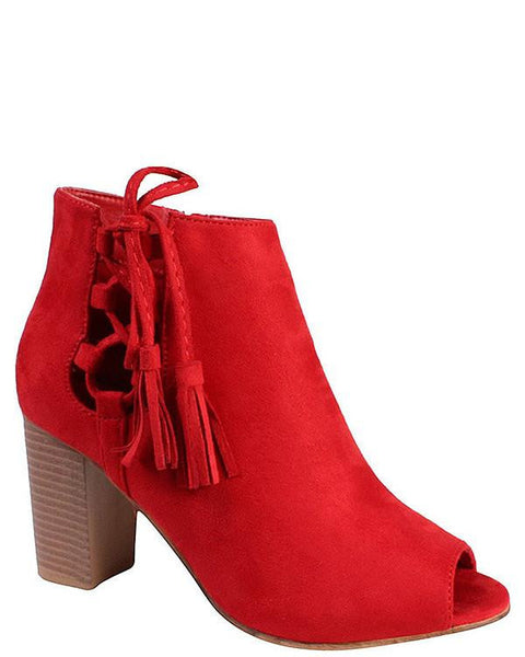 Red Suede Peep-toe Booties - Jezzelle