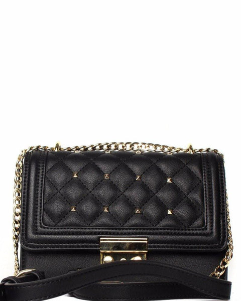 Quilted & Studded Black Shoulder Bag - Jezzelle