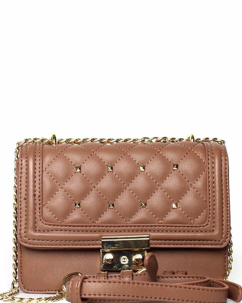 Quilted & Studded Taupe Shoulder Bag - Jezzelle