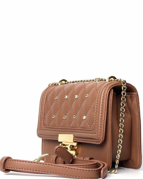 Quilted & Studded Taupe Shoulder Bag - jezzelle  - 2