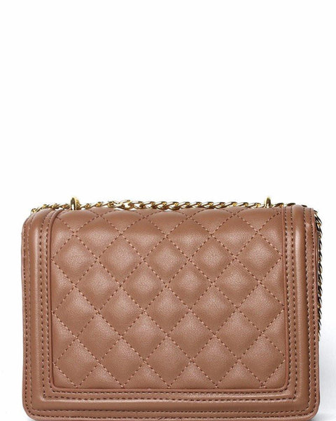 Quilted & Studded Taupe Shoulder Bag - jezzelle  - 3