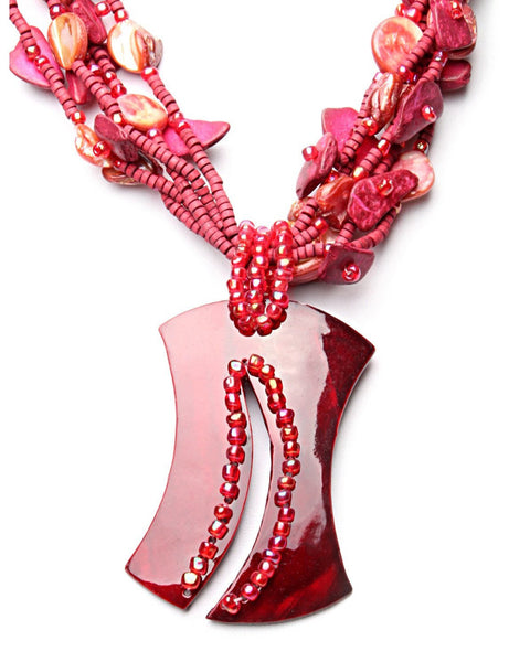 Red Mother-of-Pearl Necklace-Jezzelle